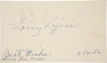 "Autographs:Post Cards, 1956 Napoleon ""Larry"" Lajoie Signed Government Postcard...."