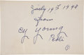 Autographs:Others, 1943 Cy Young Signed Album Page....