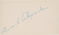 Autographs:Index Cards, 1940's Grover Cleveland Alexander Signed Index Card....