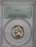 Jefferson Nickels, 1939 5C MS67 PCGS. PCGS Population (24/0). NGC Census: (409/2).Mintage: 120,627,536. Numismedia Wsl. Price for problem fre...