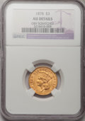 Three Dollar Gold Pieces, 1878 $3 --Obverse Scratched--NGC. AU Details....