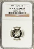 Proof Roosevelt Dimes, 2002-S 10C Silver PR70 Ultra Cameo NGC. NGC Census: (755). PCGSPopulation (155). Numismedia Wsl. Price for problem free N...