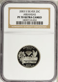 Proof Statehood Quarters: , 2003-S 25C Arkansas Silver PR70 Ultra Cameo NGC. NGC Census: (0).PCGS Population (262). Numismedia Wsl. Price for problem...