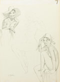 Pin-up and Glamour Art, AL BUELL (American, 1910-1996). Pinup with a Hat, study.Pencil on board. 20 x 15 in.. Signed lower left. ...