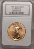 Modern Bullion Coins: , 1999 G$50 One-Ounce Gold Eagle MS70 NGC. NGC Census: (96). PCGSPopulation (9). Numismedia Wsl. Price for problem free NGC...