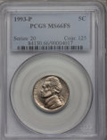 Jefferson Nickels, 1993-P 5C MS66FS PCGS. NGC Census: (3/0). Numismedia Wsl. Price for problem free NGC/PCGS coin in M...