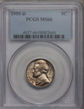Jefferson Nickels: , 1955-D 5C MS66 PCGS. PCGS Population (28/0). NGC Census: (79/0).Mintage: 74,464,096. Numismedia Wsl. Price for problem fre...