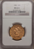 Liberty Eagles, 1882 $10 MS62 ★ NGC. NGC Census: (3147/714). PCGS Population(1573/308). Mintage: 2,324,4...