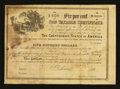 Confederate Notes:Group Lots, Ball 153 Cr. UNL $500 1864 Six Per Cent Non Taxable Certificate Very Good.. ...