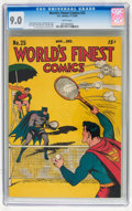 Golden Age (1938-1955):Superhero, World's Finest Comics #25 (DC, 1946) CGC VF/NM 9.0 White pages....