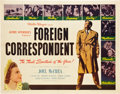 "Movie Posters:Hitchcock, Foreign Correspondent (United Artists, 1940). Half Sheet (22"" X28"").. ..."