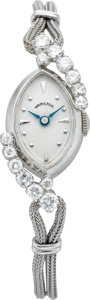 Timepieces:Wristwatch, Hamilton Lady's White Gold & Diamond Watch, circa 1950's. ...