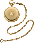 Timepieces:Pocket (pre 1900) , Swiss Gold Hunters Case Pocket Watch With Box & Chain, circa1880. ...
