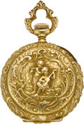 Timepieces:Pocket (post 1900), Swiss Gold Miniature High Grade Pendant Watch, circa 1905. ...
