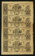 Obsoletes By State:Louisiana, New Orleans,LA- Canal & Banking Co. $5-$5-$5-$5 Uncut Sheet. ...