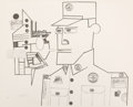Prints, SAUL STEINBERG (Romanian, 1914-1999). The General (from Peace Portfolio 1), 1970. Lithograph on Rives paper. 21 x 26 inc...