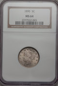 Liberty Nickels: , 1890 5C MS64 NGC. NGC Census: (106/49). PCGS Population (147/53).Mintage: 16,259,272. Numismedia Wsl. Price for problem fr...