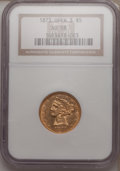 Liberty Half Eagles: , 1873 $5 Open 3 AU58 NGC. NGC Census: (65/72). PCGS Population(19/41). Mintage: 112,505. Numismedia Wsl. Price for problem ...