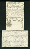 Colonial Notes:New Hampshire, New Hampshire April 1, 1737 Redated August 7, 1740 20s and April 3,1755 10s.... (Total: 2 items)