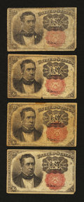 Fractional Currency:Fifth Issue, Four 10¢ Fifth Issue Notes.... (Total: 4 notes)