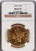 1904-S $20 MS63 Prooflike NGC. NGC Census: (21/3). PCGS Population (0/0). Mintage: 5,134,175. (#79046)...(PCGS# 79046)