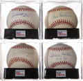 Baseball Collectibles:Balls, Hall of Fame Pitchers Single Signed Baseballs Lot of 4....