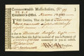 Colonial Notes:Massachusetts, Massachusetts Treasury Tax Collector's Certificate. November 1782.Very Fine-Extremely Fine....