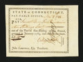 Colonial Notes:Connecticut, Connecticut Pay Table Office. November 8, 1784. ExtremelyFine-About New....