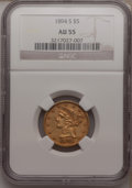 Liberty Half Eagles: , 1894-S $5 AU55 NGC. NGC Census: (40/71). PCGS Population (14/22).Mintage: 55,900. Numismedia Wsl. Price for problem free N...