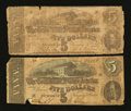 Confederate Notes:1862 Issues, T53 $5 1862 and T69 $5 1864.. ... (Total: 2 notes)
