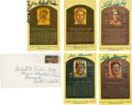 Baseball Collectibles:Others, Major League Baseball Hall of Fame Signed Plaque Postcards Lot of 5....