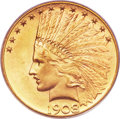 Indian Eagles, 1908-D $10 Motto MS65 PCGS....