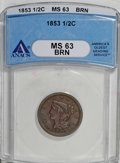 Half Cents: , 1853 1/2 C MS63 Brown ANACS. NGC Census: (124/294). PCGS Population(108/138). Mintage: 129,694. Numismedia Wsl. Price for ...