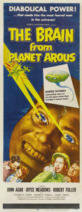 "Movie Posters:Science Fiction, The Brain from Planet Arous (Howco, 1957). Insert (14"" X 36""). Ahuge floating brain takes over the body of nuclear scientis..."
