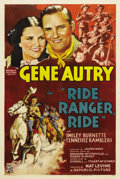"""Movie Posters:Western, Ride, Ranger, Ride (Republic, 1936). One Sheet (27"""" X 41""""). Gene Autry tries to warn the cavalry that an Indian attack is im..."""