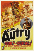 "Movie Posters:Western, Guns and Guitars (Republic, 1936). One Sheet (27"" X 41""). Gene Autry stars as a medicine-show entertainer who has a run in w..."