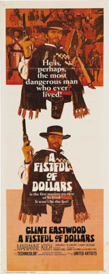 """A Fistful of Dollars (United Artists, 1967). Insert (14"""" X 36""""). This revisionist Western appeared out of nowh..."""