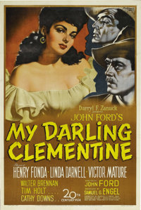 "My Darling Clementine (20th Century Fox, 1946). One Sheet (27"" X 41""). John Ford tackled one of the West's gre..."