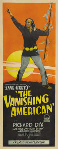 "Movie Posters:Drama, The Vanishing American (Paramount, 1925). Insert (14"" X 36""). Inone of the more important Westerns of cinema, Richard Dix p..."