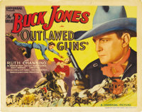 """Outlawed Guns (Universal, 1935). Title Lobby Card (11"""" X 14""""). Buck Jones is in the thick of things and lookin..."""