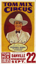 "Movie Posters:Western, Tom Mix Circus Poster (Circus Poster, 1937). One Sheet (28"" X 41""). Tom Mix was without a doubt the most famous Western star..."