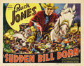 "Movie Posters:Western, Sudden Bill Dorn (Universal, 1937). Title Lobby Card (11"" X 14"").Buck Jones stars in this Western about a nefarious outlaw ..."
