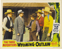 "Wyoming Outlaw (Republic, 1939). Lobby Cards (2) (11"" X 14""). Republic's ""Three Mesquiteers"" trio se..."