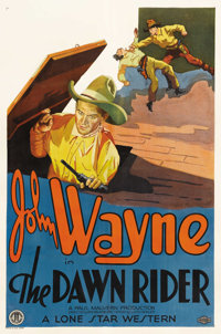 "The Dawn Rider (Monogram, 1935). One Sheet (27"" X 41""). John Wayne chases after his father's killer and winds..."