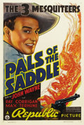 "Movie Posters:Western, Pals of the Saddle (Republic, 1938). One Sheet (27"" X 41""). JohnWayne joins Ray Corrigan and Max Terhune for his first ""Thr..."