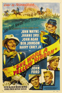 """She Wore a Yellow Ribbon (RKO, 1949). One Sheet (27"""" X 41""""). The second in John Ford's """"Cavalry Trilogy,&..."""