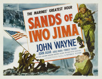 "Sands of Iwo Jima (Republic, 1950). Half Sheet (22"" X 28""). John Wayne bleeds red, white and blue in this patr..."
