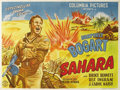 "Movie Posters:War, Sahara (Columbia, 1943). Argentinian Two Sheet (53"" X 43"").Humphrey Bogart stars as a sergeant in command of a tank crew in..."