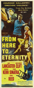 "Movie Posters:Romance, From Here to Eternity (Columbia, 1953). Insert (14"" X 36""). Burt Lancaster, Deborah Kerr, Montgomery Clift, Frank Sinatra an..."
