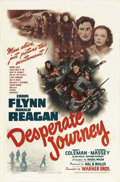 "Movie Posters:War, Desperate Journey (Warner Brothers, 1942). One Sheet (27"" X 41""). This action/war picture begins when five RAF pilots surviv..."